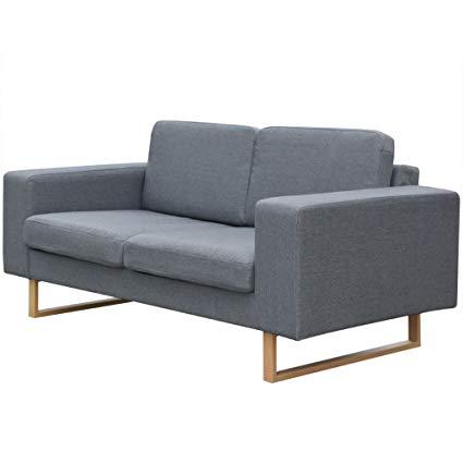 Amazon.com: 2-Seater Sofa Sleeper Couch Set Fabric Light Gray