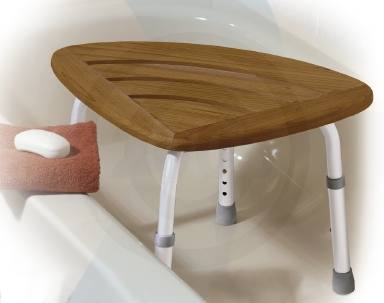 Teak Adjustable Height Bath Stool - elderstore.com