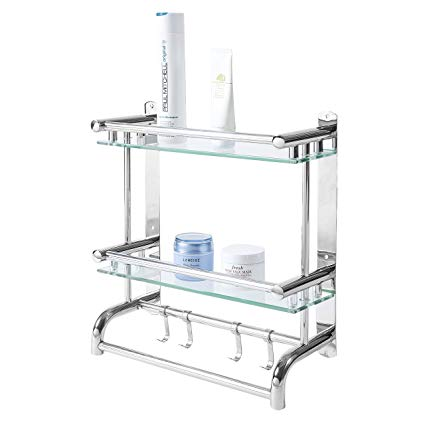 Amazon.com: MyGift Wall Mounted Stainless Steel Bathroom Shelf Rack