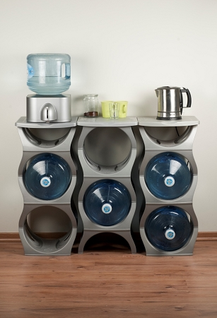Water Bubbles | Three Water Cooler Bottle Rack with shelf