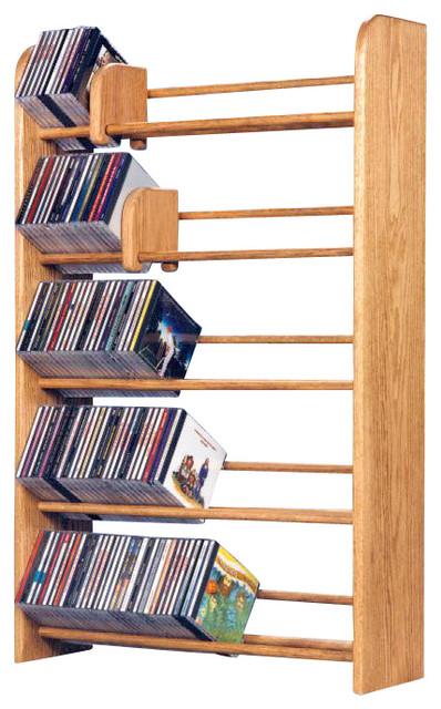 Solid Oak 5 Row Dowel Cd Rack - Modern - Media Racks And Towers - by