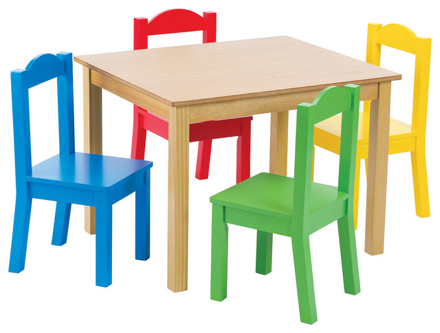 Tot Tutors Primary Focus Wood Table and Chairs Set - Transitional