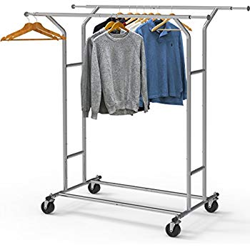 Amazon.com: Simple Houseware Heavy Duty Double Rail Clothing Garment