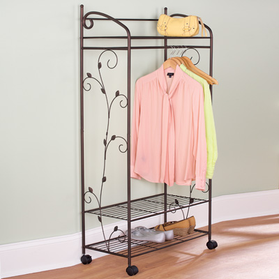 Metal Scroll Garment Rack With Shelves from Collections Etc.