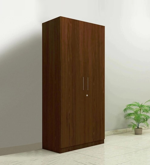 Buy Two Door Compact Wardrobe in PLPB with Classic Walnut Finish by