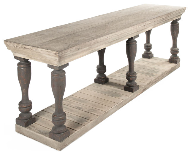 Bartow Masculine French Country Rustic Baluster Long Console Table
