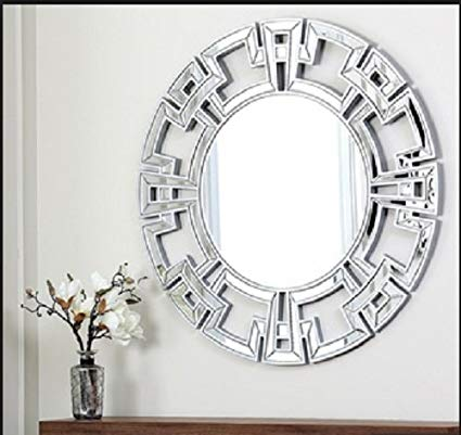 Abbyson Living Pierre Silver Round Wall Mirror, Wall Mirror, Large Wall  Mirror, Decorative
