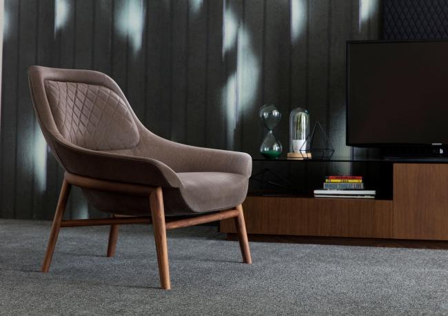 Hanna Designer armchair in wood and leather u2013 Berto Salotti