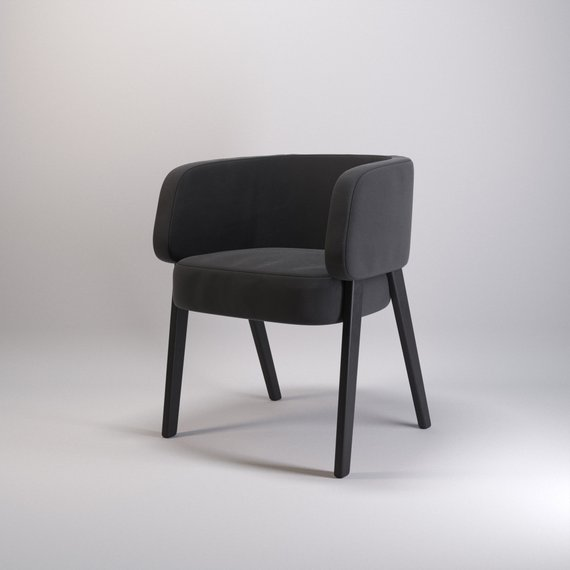 Elk Chair / Wood and velour chair / Designer armchair / Eclectic