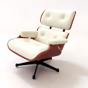 Image is loading Miniature-LoungeChair-WHITE-Mid-Century-Designer-Chairs -One-
