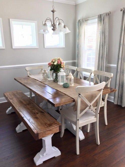 Farmhouse Table & Bench | Shanty's Tutorials | Pinterest | Farmhouse
