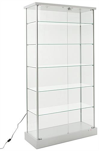 Glass Display Cabinet | (4) Hidden Casters & (2) LED Lights