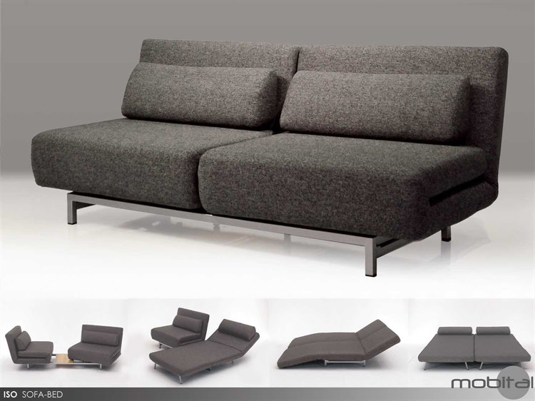 Mobital Iso Charcoal Tweed Double Sofa Bed with 2 Single Swivel