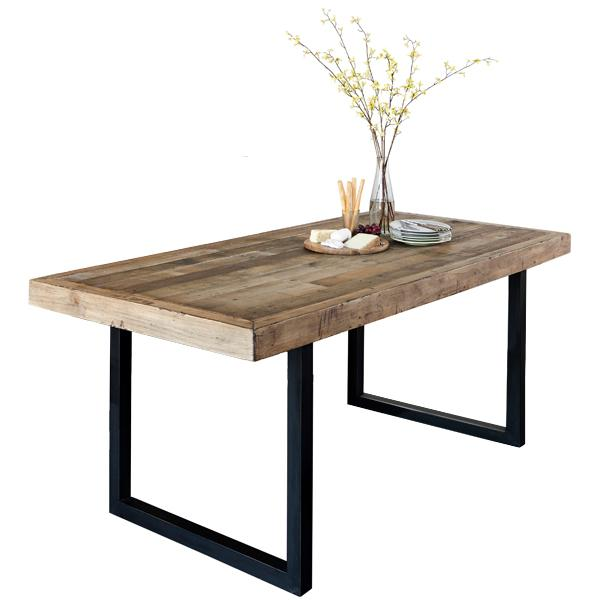 Standford Industrial Reclaimed Wood Extending Dining Table | Modish