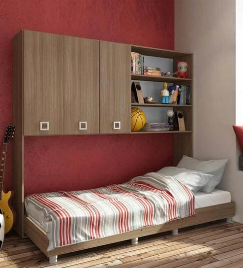 Buy McAlba Multi-Functional Bed with Wall Storage in Brown Oak by