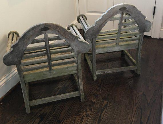 Vintage Children's English Lutyens Style Garden Chairs- a Pair