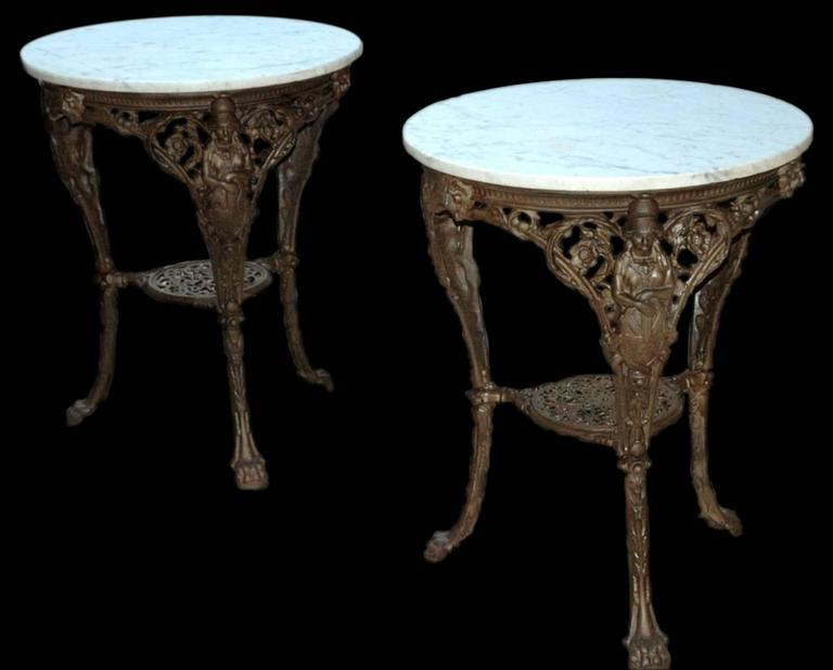French Cast Iron and Marble Garden Tables For Sale at 1stdibs