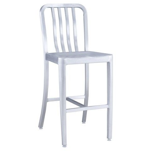 Zuo Gastro Counter Chair Brushed - Silver | Tiny King Ranch