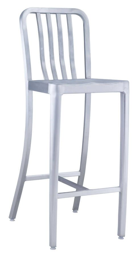 Gastro Vive Brushed Aluminum Metal Bar Chair | Outdoor Collections