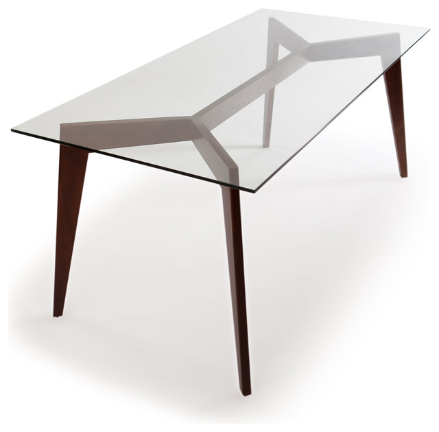 Deco Blaze Midcentury Modern Dining Table, Walnut Legs and Glass Top