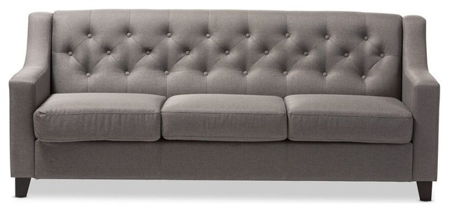 Arcadia Fabric Upholstered Button-Tufted Living Room 3-Seater Sofa, Gray
