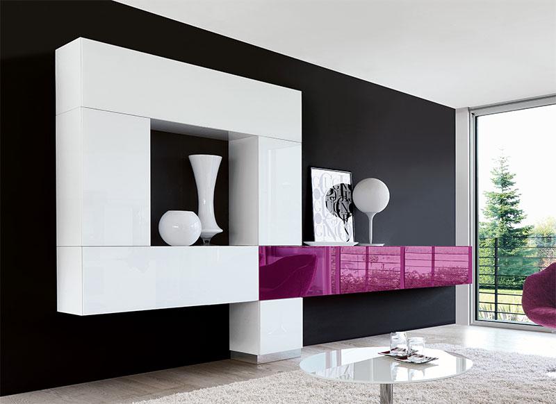 Amusing White Gloss Wall Units Living Room-Wall Units-Latest