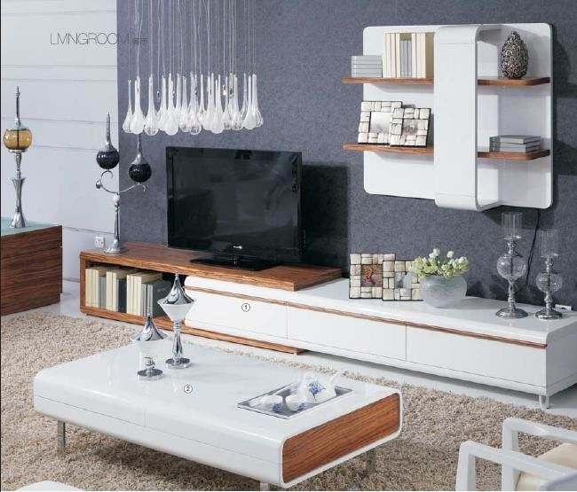White High Gloss Living Room Furniture Wall Unit Coffee Table Non