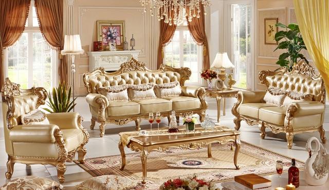 Classic Italian style luxury leather sofa set living room sofa