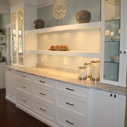 Elegant White Shaker Kitchen Cabinets in 2019 | Bar wall and Buffet