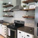 Kitchen shelves for cookbooks, dishes and more.