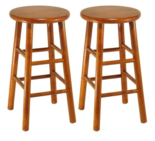 Winsome Wood Assembled 24-Inch Cherry Finish Kitchen Stools, Set of