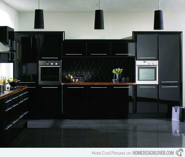 15 Astonishing Black Kitchen Cabinets | High-Gloss Kitchen | Black