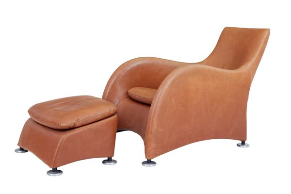 Loge Leather Armchairs and Ottomans by Gerard van den Berg, Set of 2