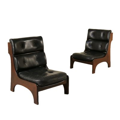 Vintage Italian Mahogany Leather Armchairs, 1970s, Set of 2 for sale