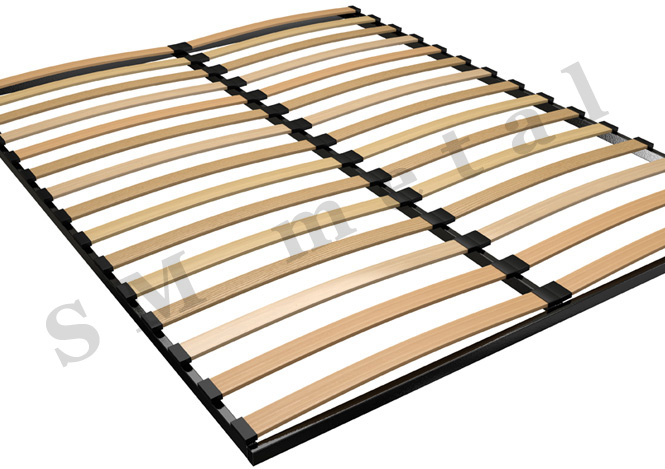 Double Standard Bed Frame with Wooden Slats | Slatted Metal Bed Frames