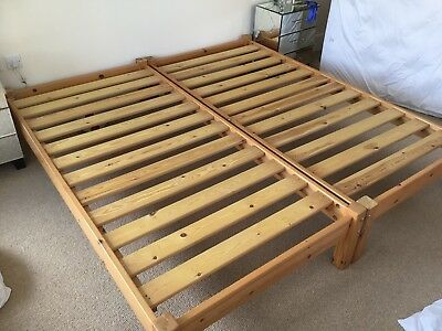 2 SINGLE SOLID Pine Bed Frames Matching - Slatted Frames - alphabeds