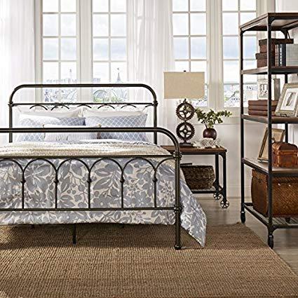 Amazon.com: Morocco Vintage Metal Bed Frame Antique Rustic Dark