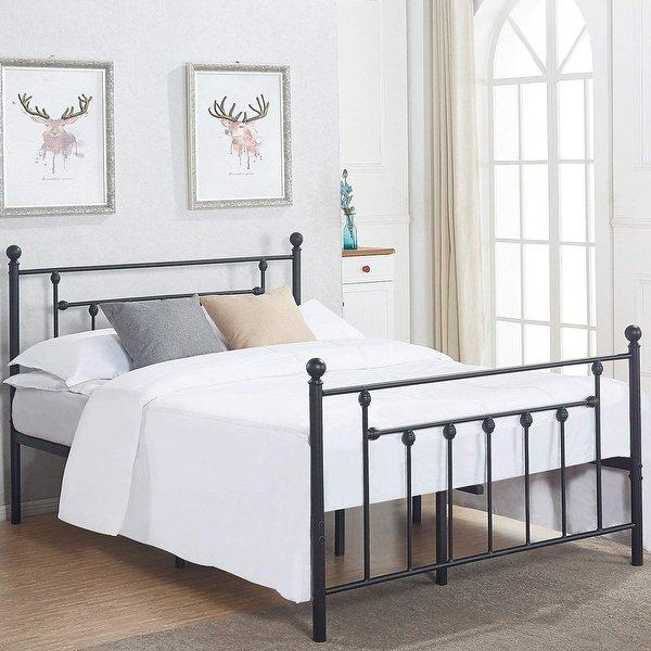 Shop VECELO Metal Beds Victorian Metal Platform Beds,Bed Frames with
