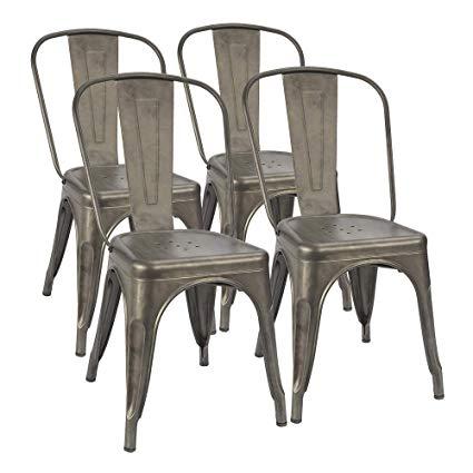 Amazon.com - Furmax Metal Dining Chair Indoor-Outdoor Use Stackable