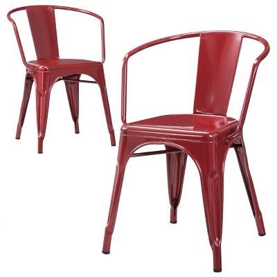 Carlisle Metal Dining Chair - Red (Set Of 2) : Target