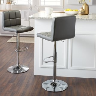 Porch & Den Galena Chrome and Faux Leather Height-adjustable Barstools (Set  of 2