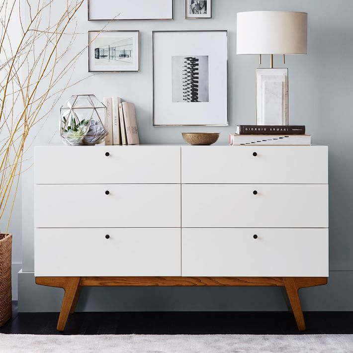 Storage space in modern chests of drawers and sideboards