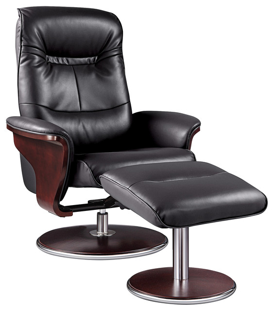 Milano Leather Swivel Recliner and Ottoman - Modern - Recliner