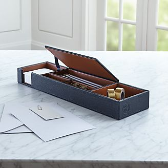 Agency Navy/Brown Desk Caddy