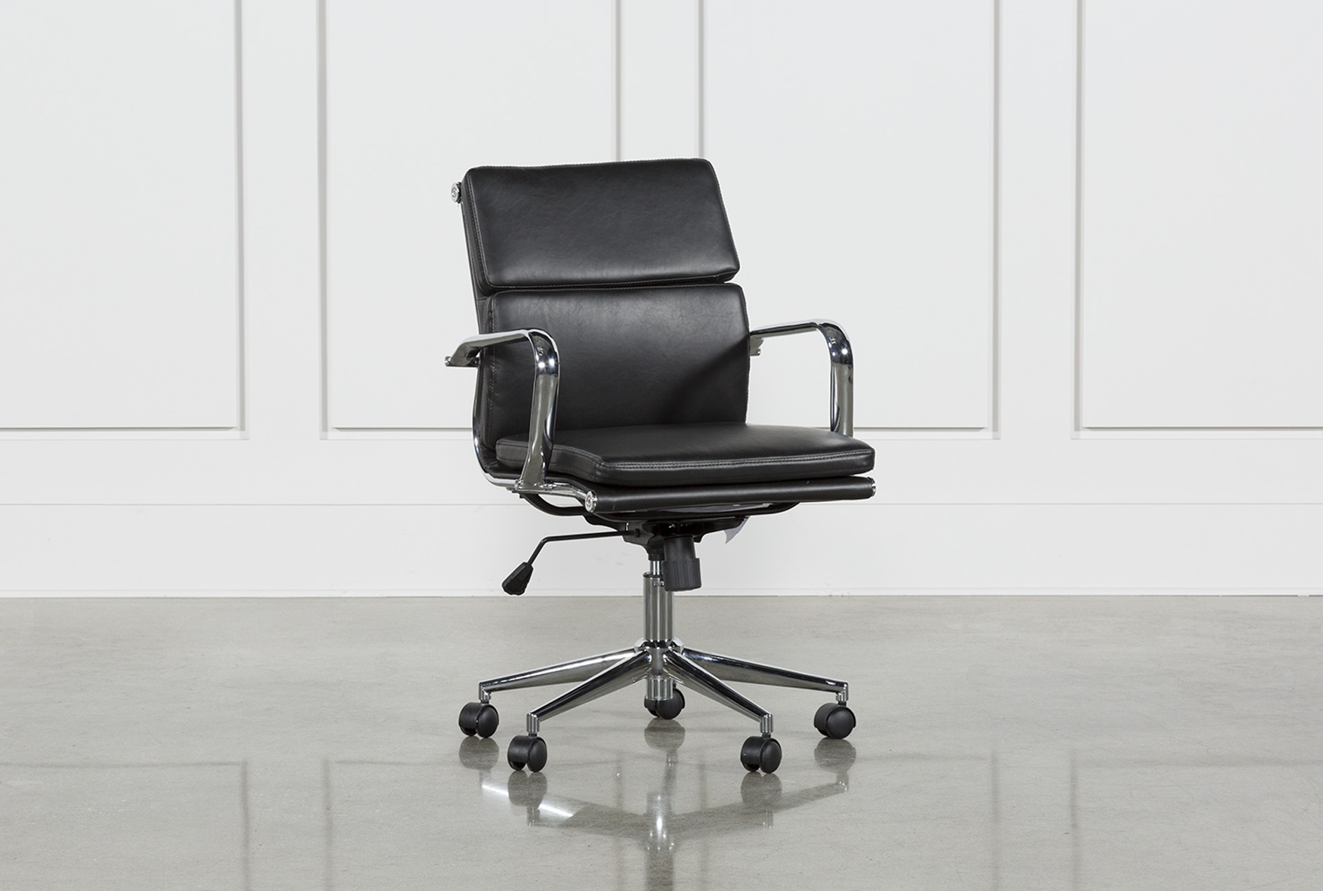 Moby Black Low Back Office Chair | Living Spaces