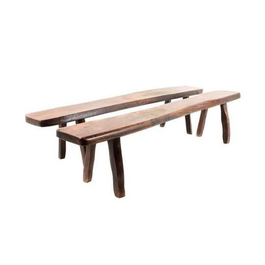 French Rustic Elm Plank Bench at 1stdibs