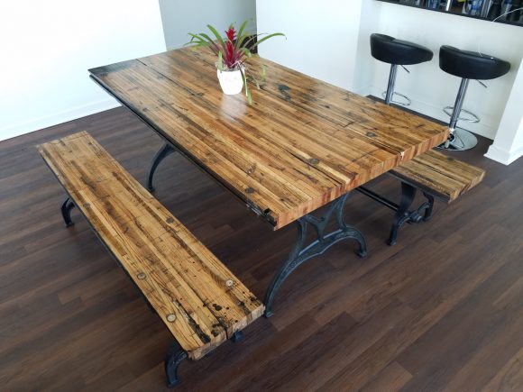 Reclaimed Oak Boxcar Plank Table with benches, Recycled, vintage