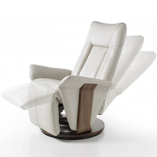 Amalia Relaxing Chair In Cream Leather And Walnut Base