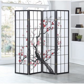 Shop Costway 4 Panel Plum Blossom Room Divider Folding Privacy