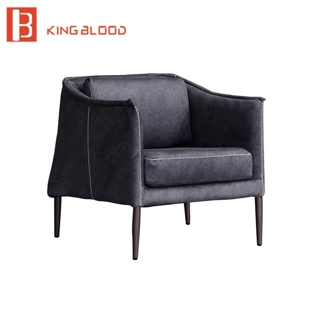 living room furniture sets iron leg single sofa chair fabric